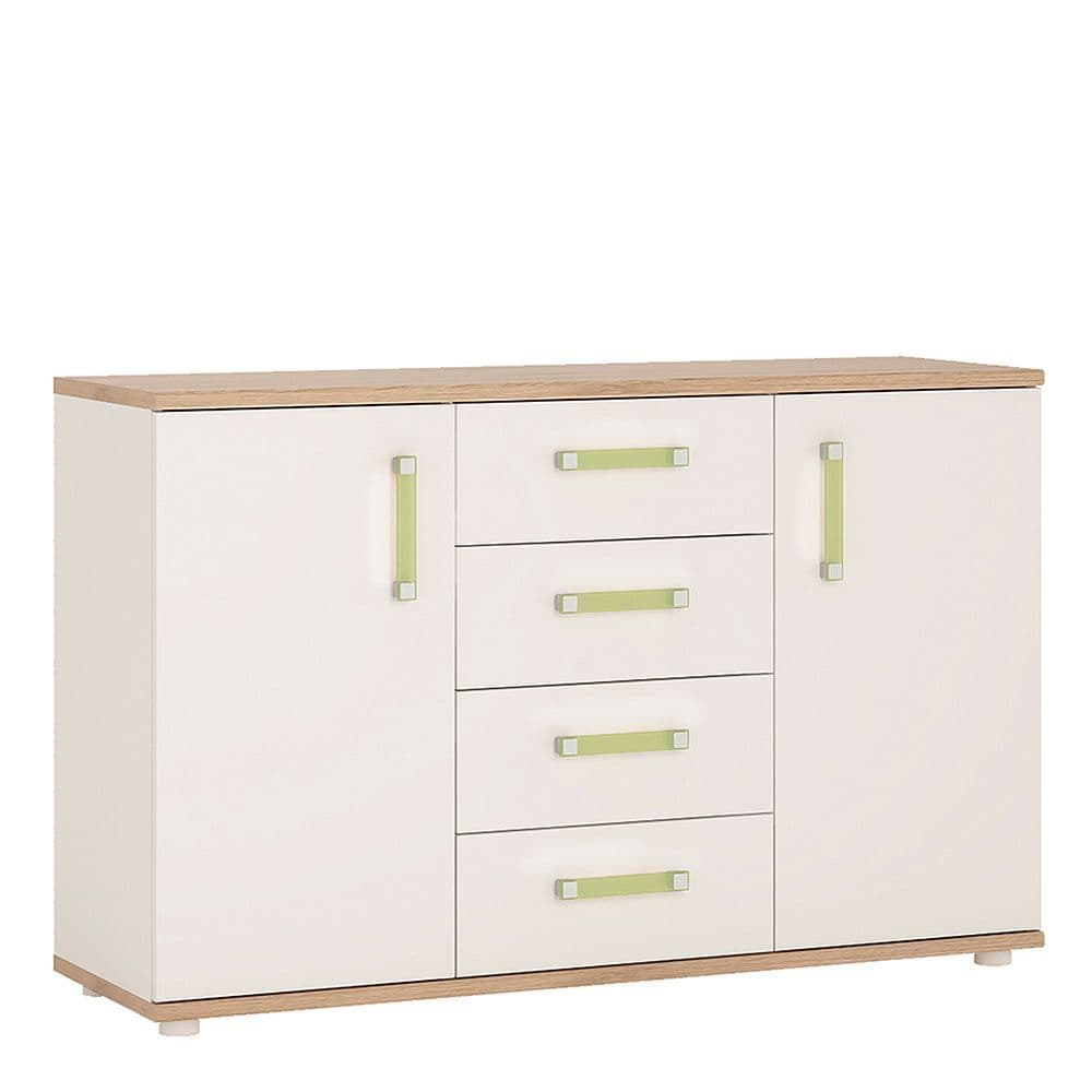 Kinder 2 Door 4 Drawer Sideboard in Light Oak and white High Gloss (lemon handles)